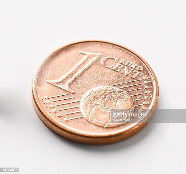 One Euro Cent coin, close-up