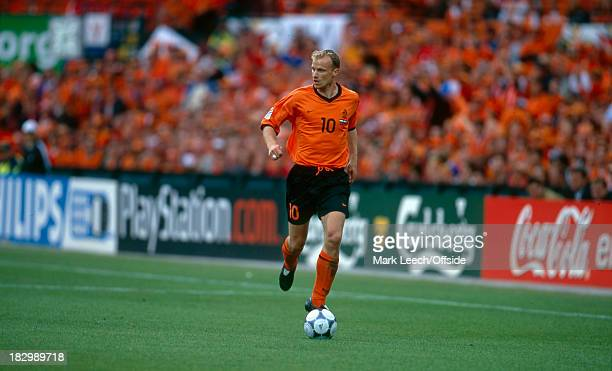 Euro Championships 2000 - Netherlands v Yugoslavia - Dennis Bergkamp of the Netherlands rubs down the line with the ball looking around for a pass to...