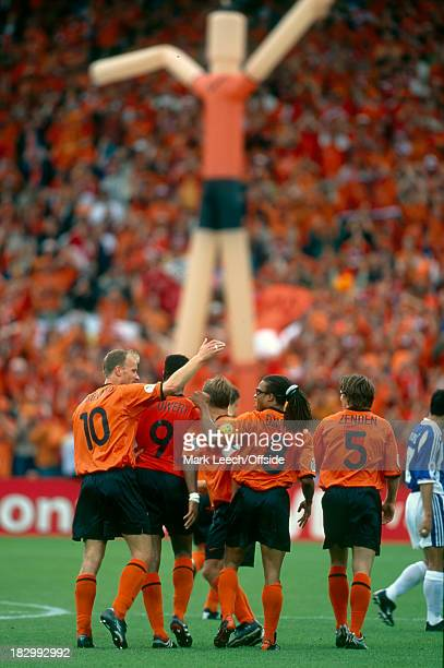 Euro Championships 2000 Netherlands v Yugoslavia The Netherlands players celebrate ith Patrick Kluivert after his goal against Yugoslavia