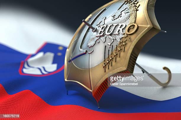 euro coin designed umbrella on a flag of slovenia - スロベニア国旗 ストックフォトと画像