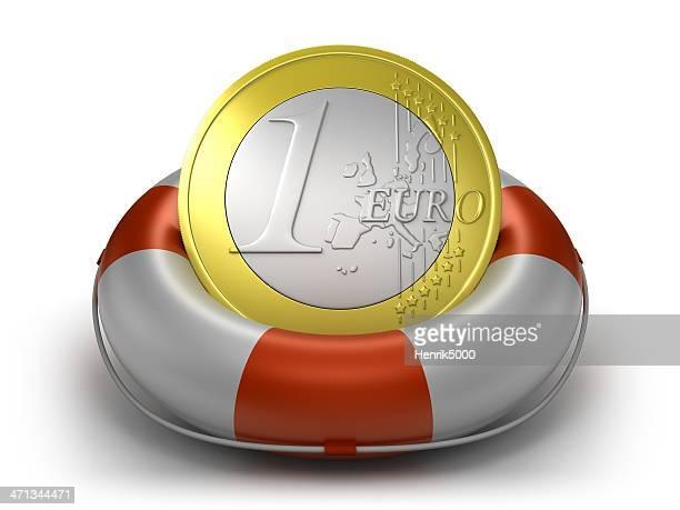 Euro Münze in das Leben preserver, isoliert mit clipping path