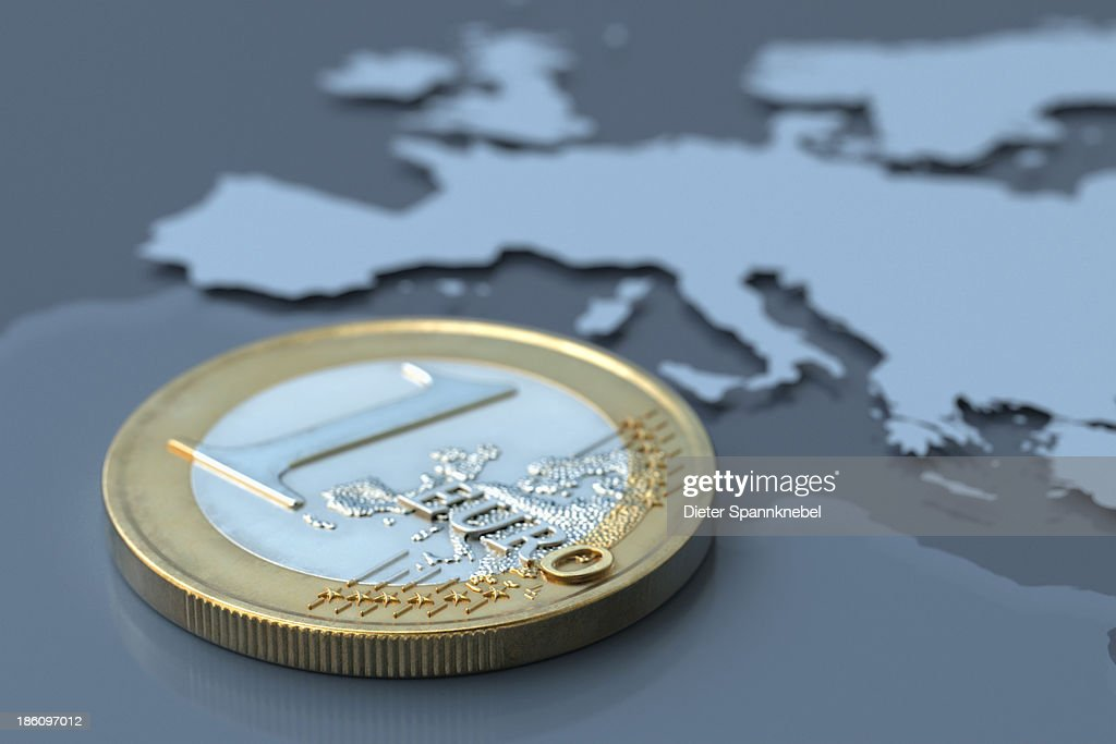 Euro coin on a map of Europe : Stock Photo