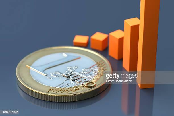 Euro coin with an increasing bar chart