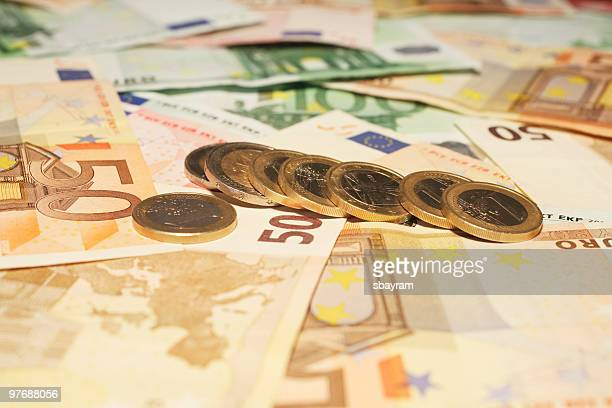 Euro coins and banknotes.