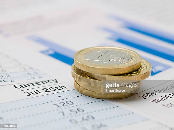 Euro coins and paper