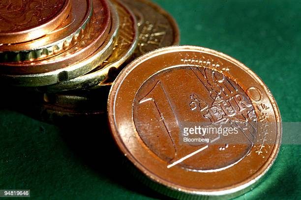 Euro coins are arranged for a photograph Friday April 1 2005