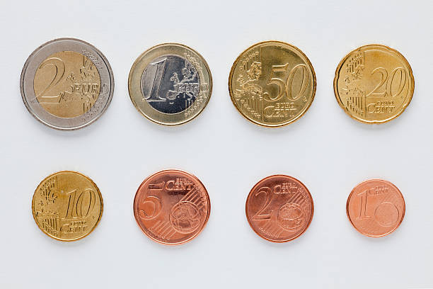 Euro Coins Arranged In Numerical Order, Front View Wall Art