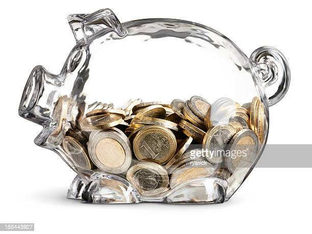 Euro Coins in Half Filled Clear Piggy Bank on White