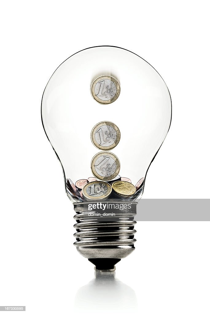 Euro Coins In Light Bulb Savings Symbol Isolated On White Stock ...