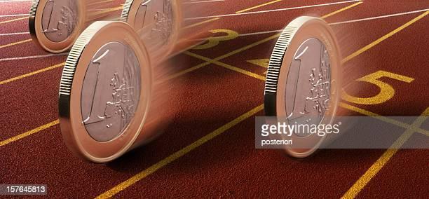 euro-Münzen auf einen race track