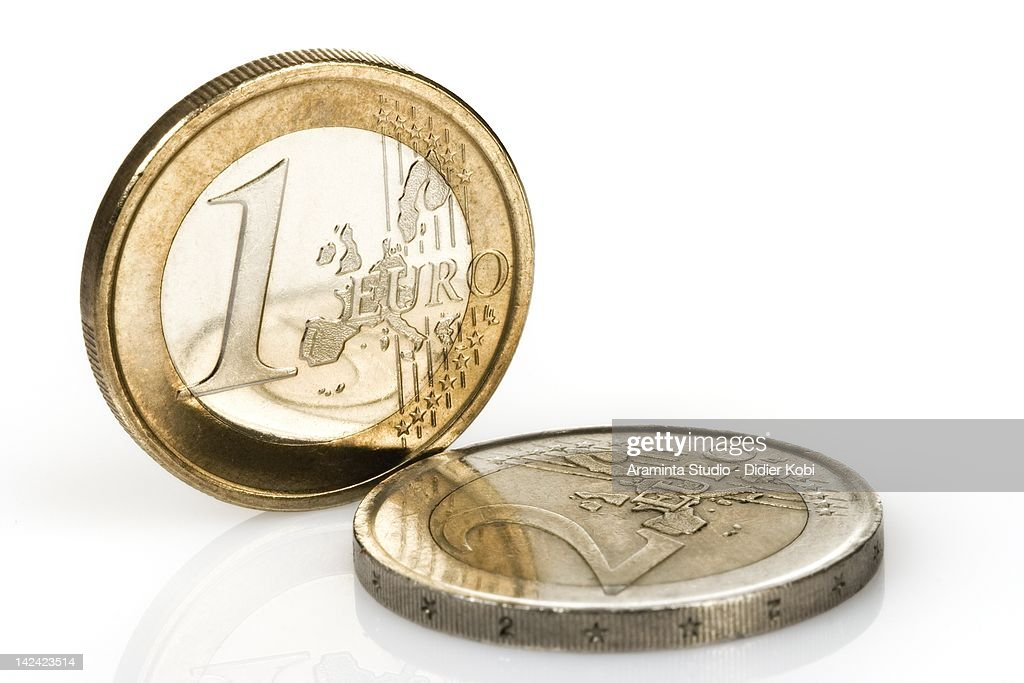 Euro Coins over white background : Bildbanksbilder