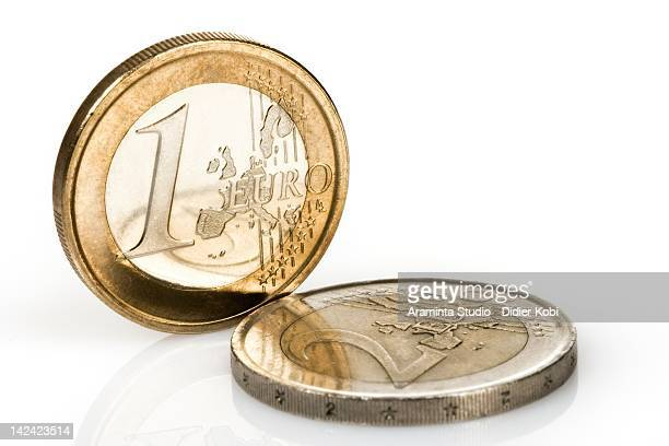 Euro Coins over white background