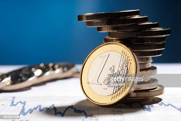 euro coins - euro symbol stock photos and pictures