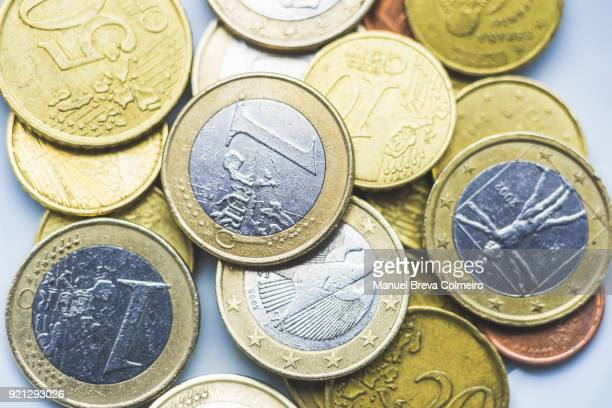 euro coins - debt ceiling stock photos and pictures