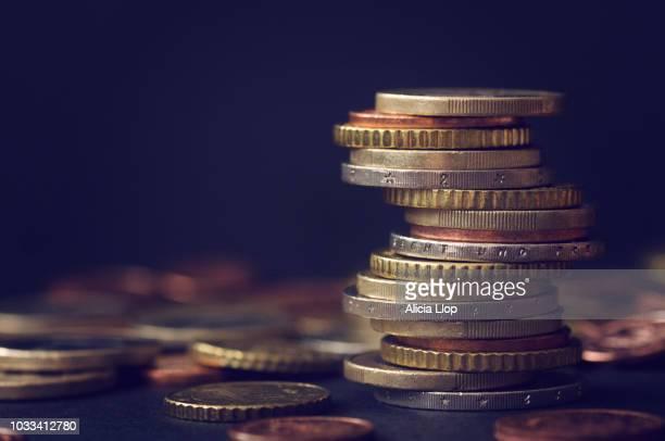 euro coins stack - euro stock-fotos und bilder