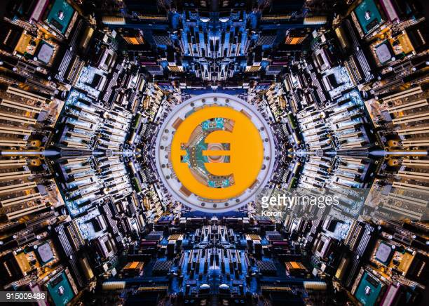euro cryptocurrency concept super processor - crypto monnaie photos et images de collection