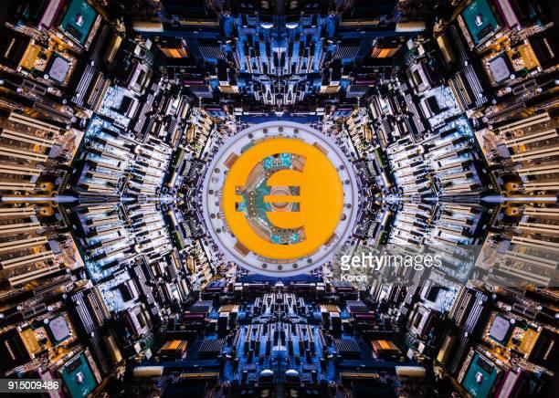 euro cryptocurrency concept super processor - crypto monnaie photos et images de collection