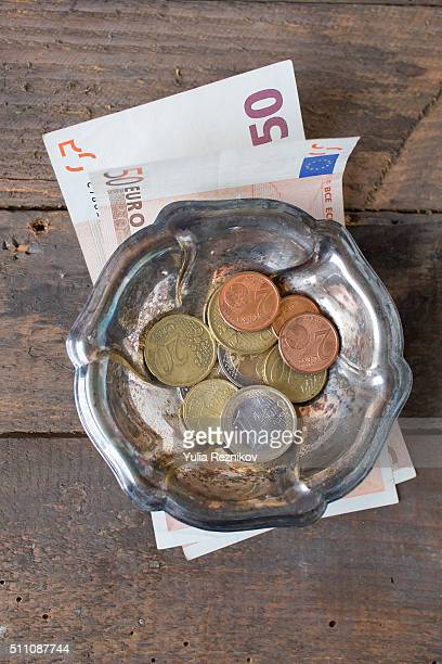 Euro currency and tip on the table