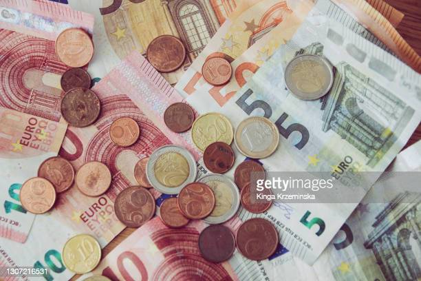 euro currency, coins and notes - budget stock pictures, royalty-free photos & images