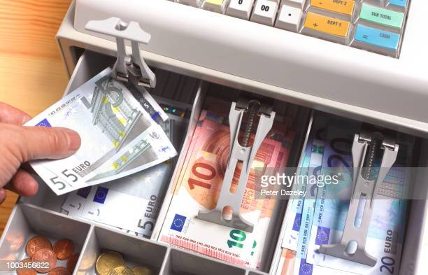 euro currency in till/ cash register - banconote euro foto e immagini stock
