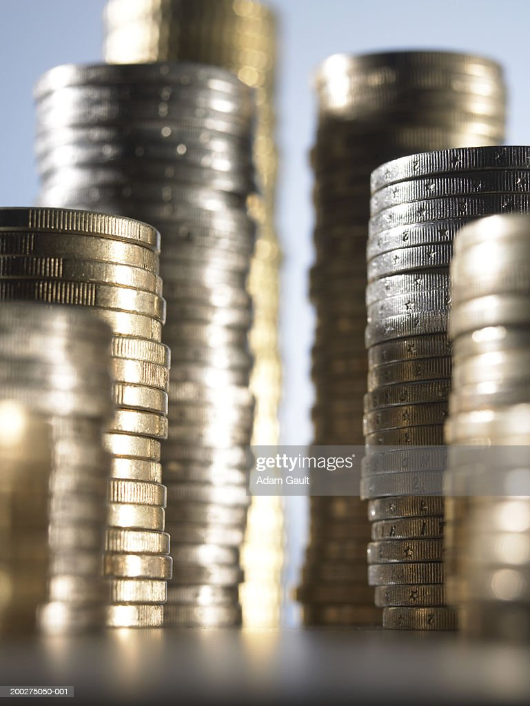 Euro Currency: Stacked coins at varying heights, close-up : Stock Photo
