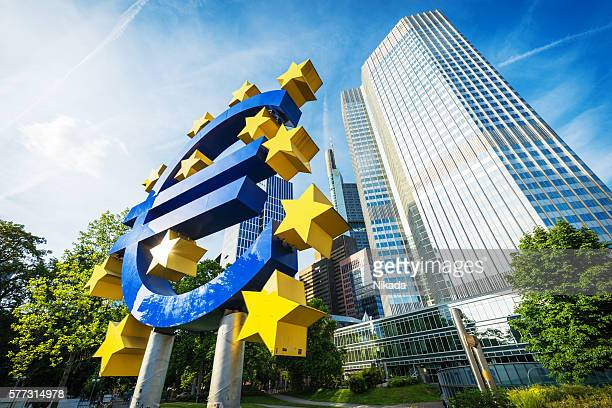 euro currency symbol in frankfurt, germany - european central bank stock pictures, royalty-free photos & images