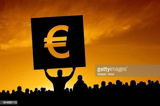 xxl euro debt crisis protestors - group e stockfoto's en -beelden