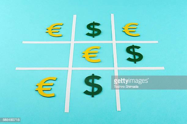 Euro defeats dollar in tic-tac-toe
