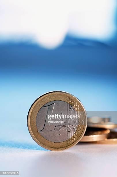 Euro. Europäische Münze mit Hintergrund