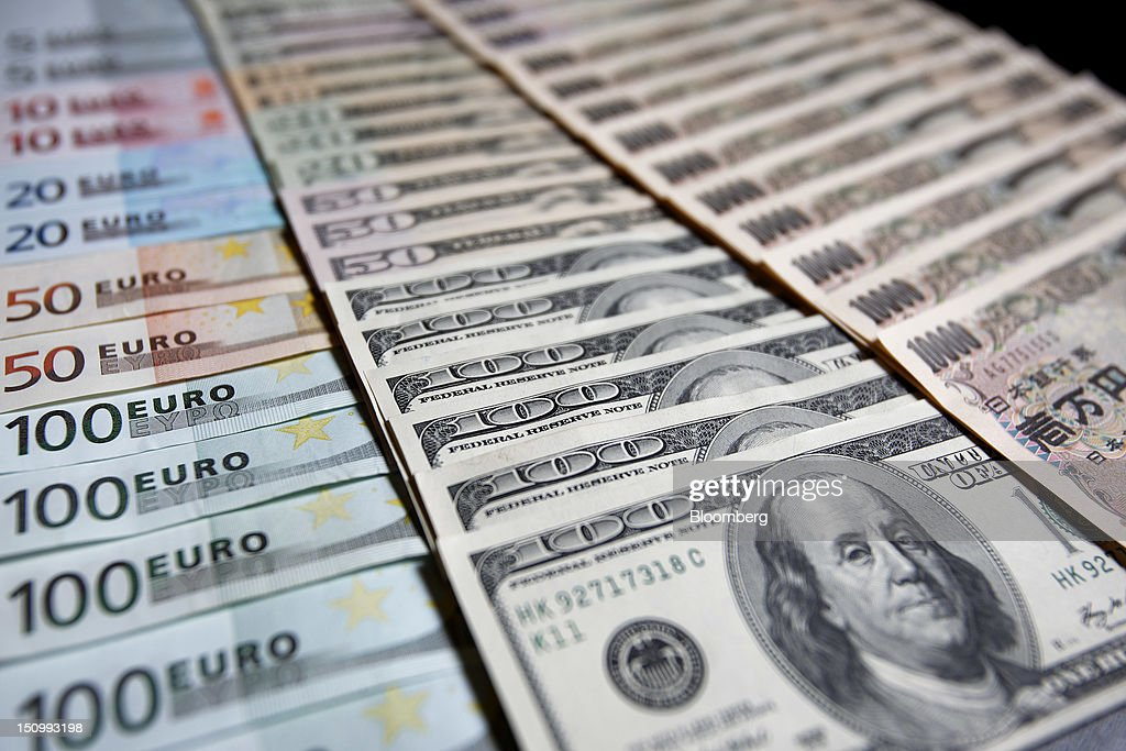 Euro Left U S Dollar Center And Yen Banknotes Of Various Denominations Are
