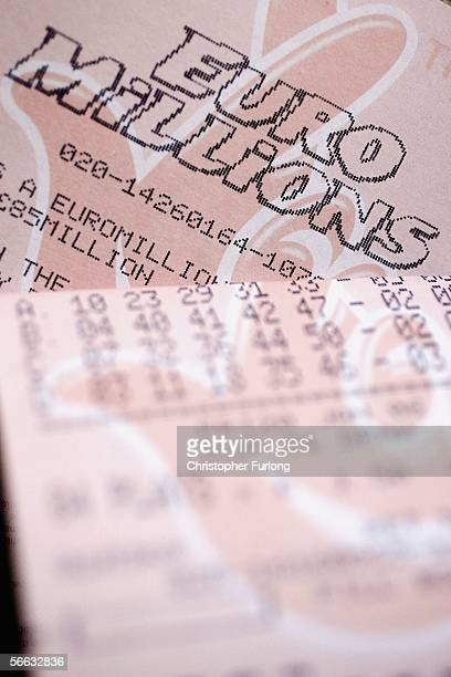 Euro Millions lottery tickets are seen on January 20 Manchester England Sales have hit an all time high ahead of this evening's GBP85 million jackpot...