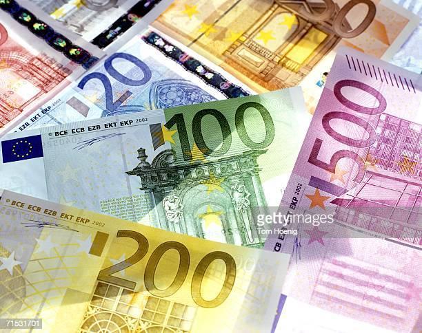 Euro notes, close-up