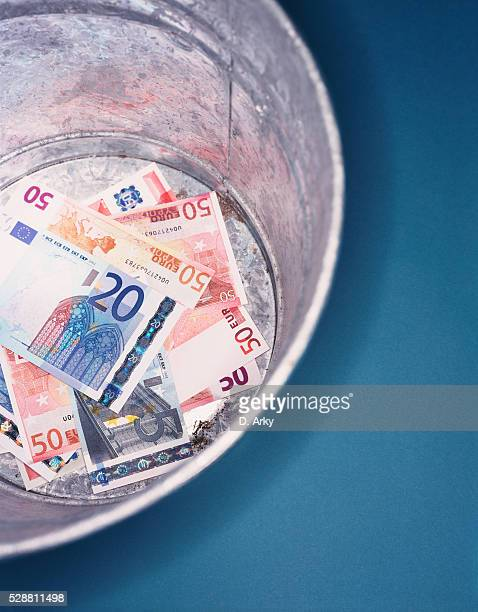 Euro notes in a box