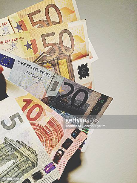 Euro Notes On Table