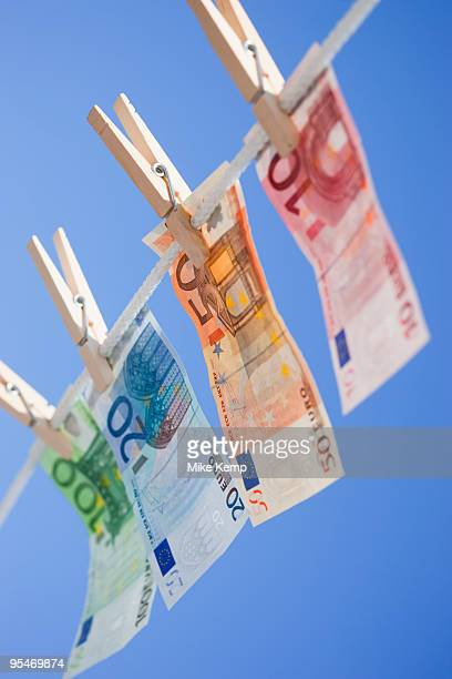 Euro on clothes line