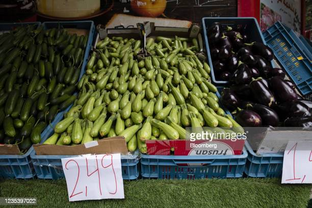 Euro price signs on a display of fresh vegetables outside a store on Sonnenallee in Berlin, Germany, on Monday, Sept. 13, 2021. Refugees from Syria...