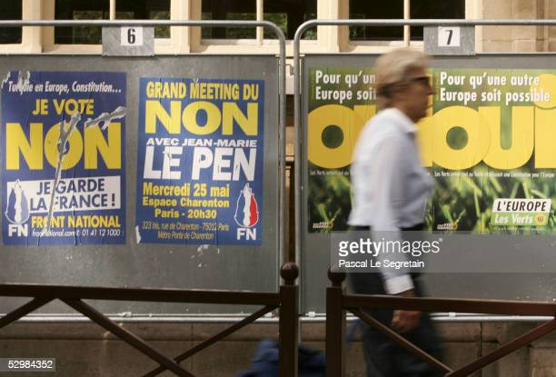Euro referendum posters hang on a fence May 26 2005 in Paris France Polls are showing increasing French opposition to the European Union constitution...