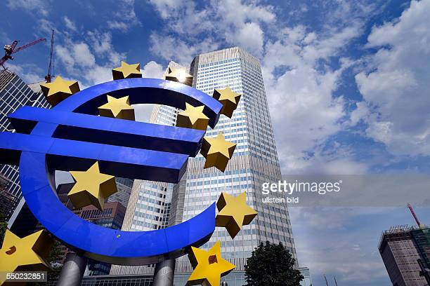 euro sign in front of the Headquarter of European Central Bank in Frankfurt