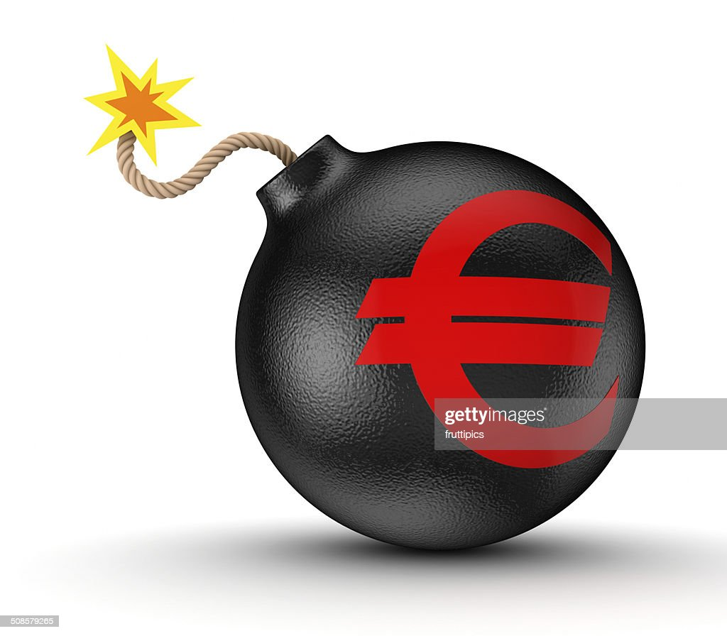 Euro sign on a black bomb. : Stock Photo