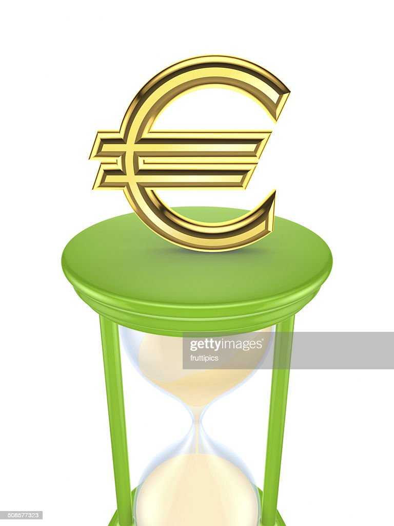 Euro sign on a green sand glass. : Bildbanksbilder