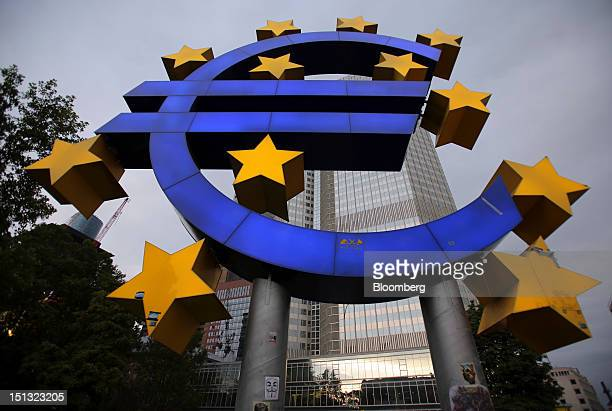 Euro sign sculpture is seen outside the European Central Bank headquarters in Frankfurt, Germany, on Wednesday, Sept. 5, 2012. Predictions of a...