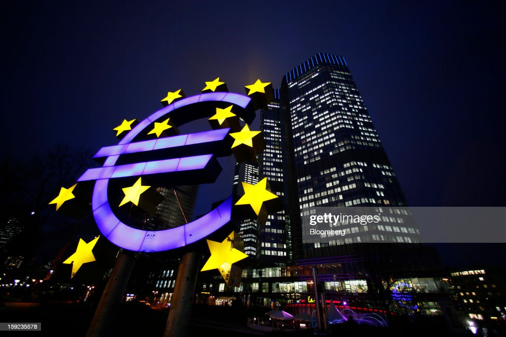 ECB Headquarters And Euro Sculpture As Bank Delivers Rate Decision