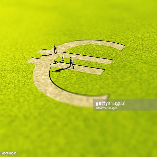 Euro sign shaped path in landscape