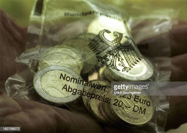 Euro Starterkit a small plasticbag filled with Euro coins of the nominal value of 1023 Euro sold for 2000 DM