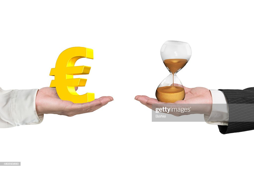 Euro symbol and hour glass with two hands : Stock Photo