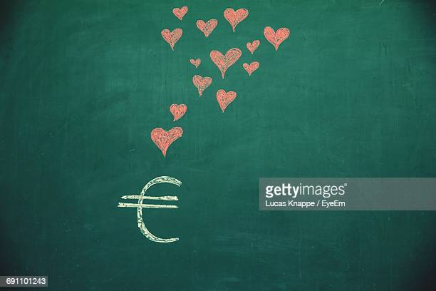 Euro Symbol And Red Heart Shape Drawing On Blackboard