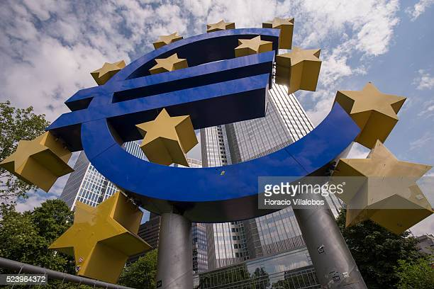 Euro symbol in front of European Central Bank Headquarters in Willy Brandt Platz Frankfurt Germany 07 August 2014 In a press conference after ECB's...