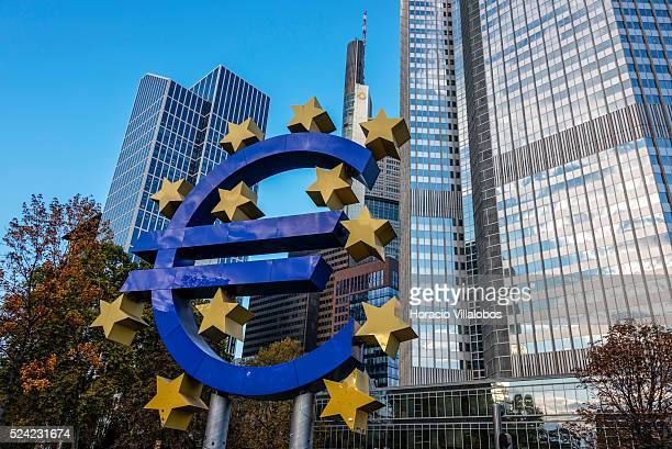 Euro symbol in front of European Central Bank Headquarters in Willy Brandt Platz Frankfurt Germany 06 November 2014 In a press conference after ECB's...