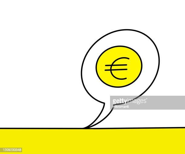 euro symbol in speech bubble - two tone color stock pictures, royalty-free photos & images