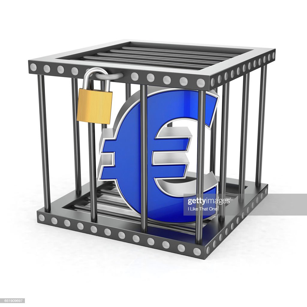 Euro symbol locked inside a steel cage : Stock Photo